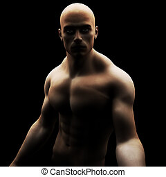 muscled, mâle, modèle, sain