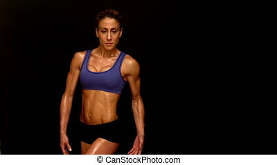 musculaire, femme, fléchir, vers