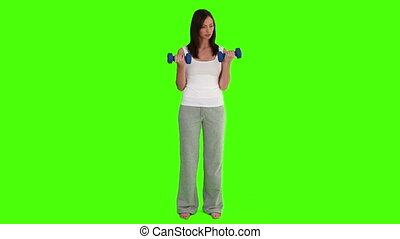 musculation, brunette, femme, exercice