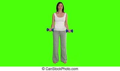 musculation, femme foncé-d'une chevelure, exercices