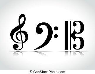 musical, conception, vecteur, symbole, icônes