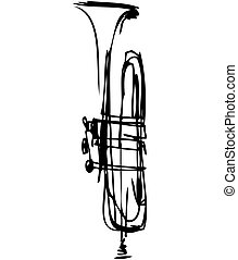 musical, tuyau, instrument, croquis, cuivre