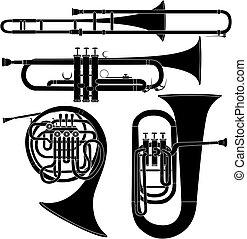 musical, vecteur, instruments laiton