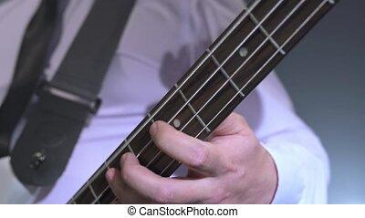 musicians., guitariste, studio, jouer, vue