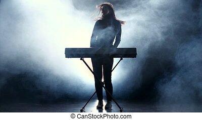 musicien, jeûne, smoke., musique, piano., studio, électronique, jouer