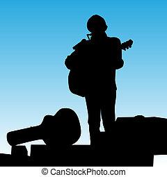 musicien, jouer, étape