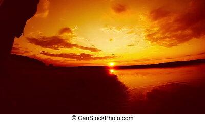 musicien, orange, jeu, guitariste, coucher soleil, débuts, relier, ciel, homme, électrique, rivière, mâle, corde