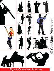 musiciens, ensemble, grand, silhouettes.