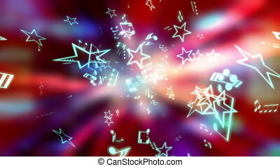 musique, étoiles, boucle