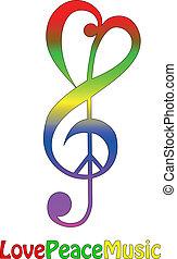 musique, amour, paix, isolé