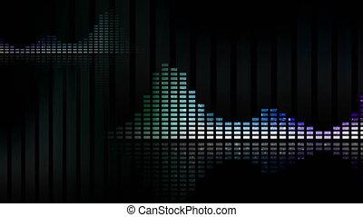 musique, animé, waveforms, meters., 4k, loop-able, seamless, vu