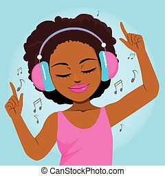 musique, apprécier, femme, noir