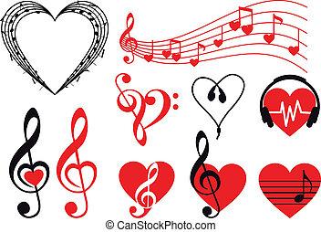 musique, cœurs, vecteur