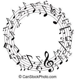 musique, cercle, notes