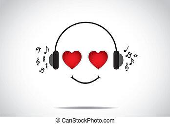musique, concept, amour, écoute
