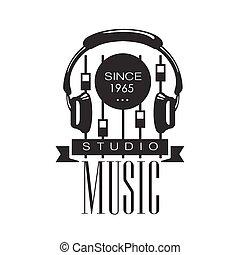 musique, console, son, écouteurs, gabarit, logo, noir, blanc, enregistrement, retro, studio, enregistrement