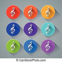 musique, couleurs, divers, icônes