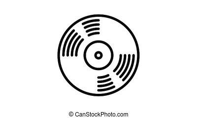 musique, disque vinyle, animation, icône