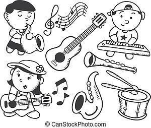musique, enfants jouer