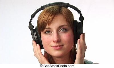 musique, femme, écoute