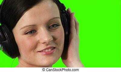 musique, femme, kroma-key, écoute
