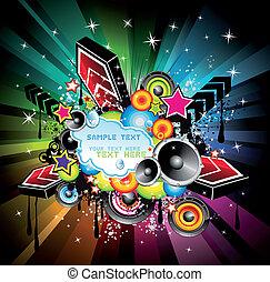 musique, fond, arc-en-ciel, disco