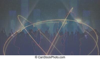 musique, gens, anneaux, rotation, compensateur, contre, danse, sur, multiple, silhouette