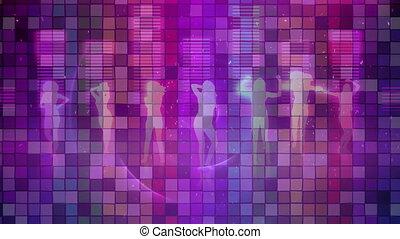 musique, gens, compensateur, mosaïque, contre, danse, sur, carrés, silhouette