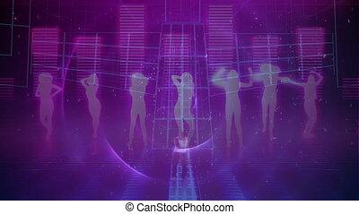 musique, gens, compensateur, pourpre, contre, danse, sur, fond, silhouette