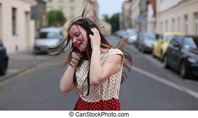 musique, girl, écoute