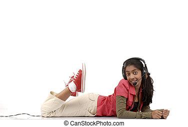 musique, girl, jeune, écoute
