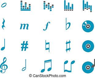 musique, icône, ensemble