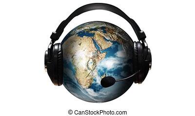 musique, mondiale, 3d animation