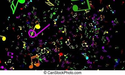 musique, noir, notes., coloré, fond