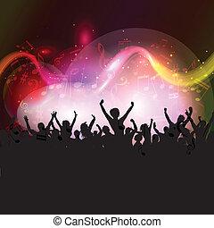 musique note, fond, audience