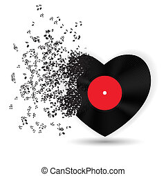 musique, notes., vecteur, carte, valentines, coeur, jour, heureux, illustration