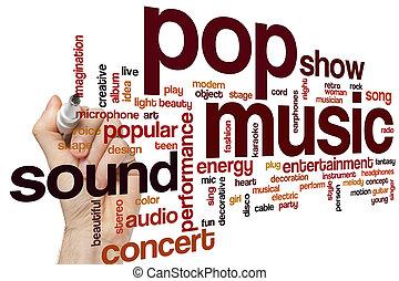 musique, nuage, pop, mot