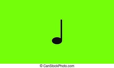 musique, trimestre, icône, note, animation