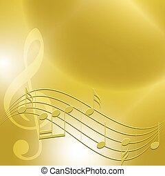 musique, -, vecteur, arrière-plan doré, notes