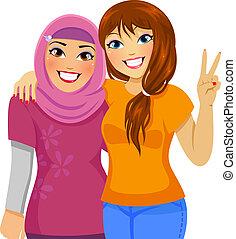 musulman, amis, caucasien