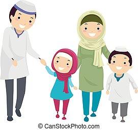 musulman, stickman, famille, illustration, promenade