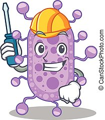 mycobacterium, caractère, dessin animé, travaillé, automobile