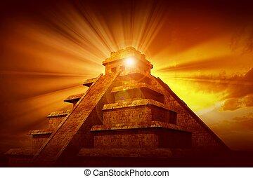 mystère, maya, pyramide