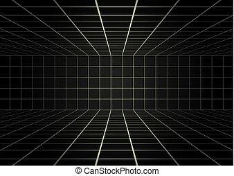 mystère, noir, lignes, salle