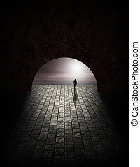 mystère, tunnel, homme