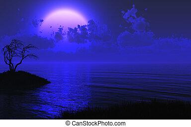 mystérieux, éclairé par la lune, mer, fond