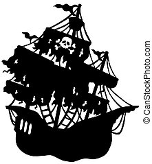 mystérieux, bateau, silhouette, pirate