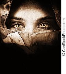 mystérieux, yeux, femme, sensuelles