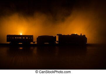 mystique, ancien, railroad., brûler, horreur, scène, vapeur, arrière-plan., train, en mouvement, nuit, orange, locomotive, night.
