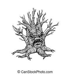 mystique, figure, arbre, sec, mort, effrayant, vacances, humain, caractère, monstre, halloween